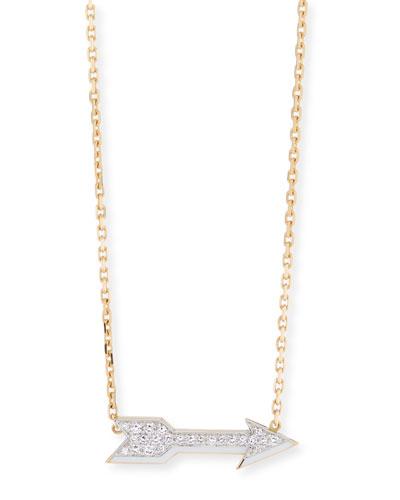 Motif 18k Gold Diamond Arrow Pendant Necklace with White Enamel