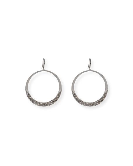 14K Black Gold Reckless Eclipse Hoop Earrings with Black Diamonds