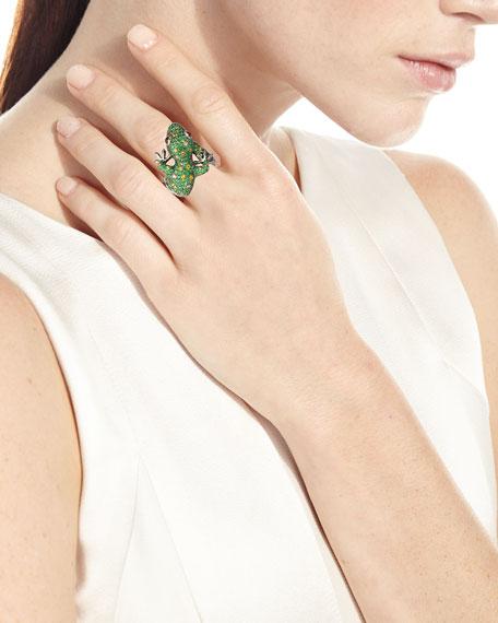Roberto Coin 18k White Gold Pave Garnet Lizard Ring, Size 6.5