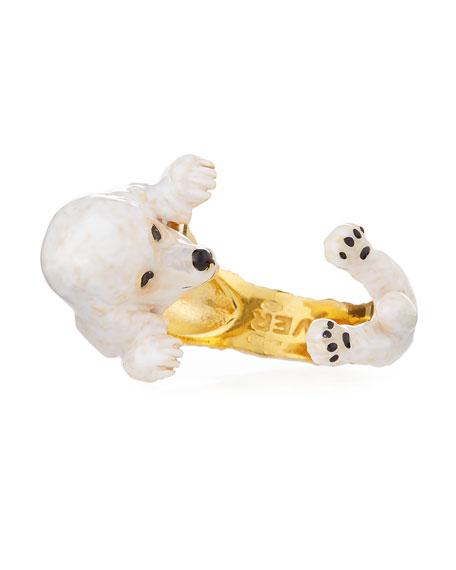 Poodle Plated Enamel Dog Hug Ring, Size 7