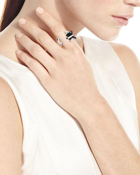 Frenchie Plated Enamel Dog Hug Ring, Size 8