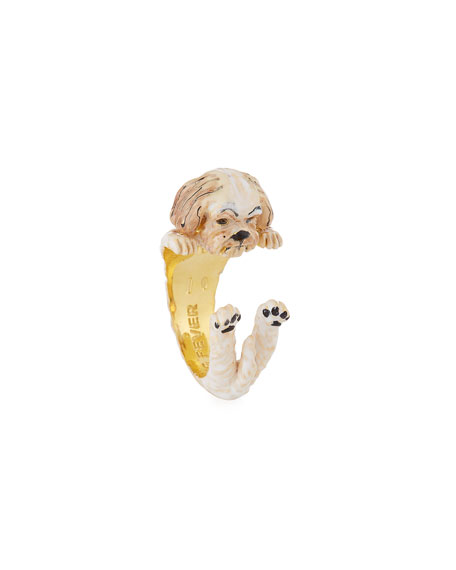 Visconti & Du Reau Shih Tzu Plated Enamel Dog Hug Ring, Size 7