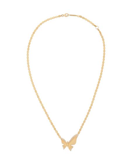 14k Large Diamond Butterfly Pendant Necklace