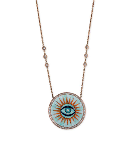 14k Opal Inlay Eye Pendant Necklace w/ Diamonds