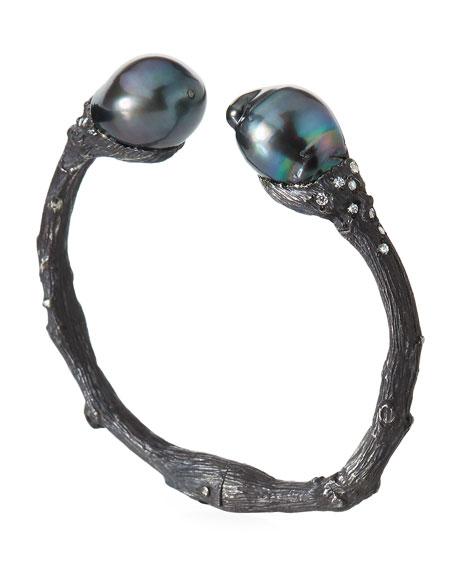 K Brunini Twig Diamond & 12mm Pearl Cuff