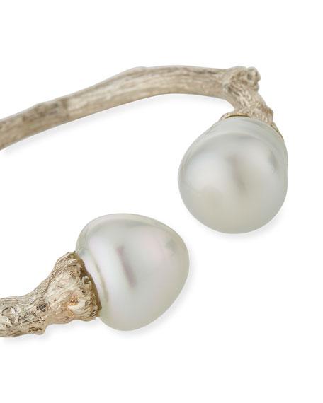 K Brunini Sterling Silver Twig & 14mm Pearl Cuff