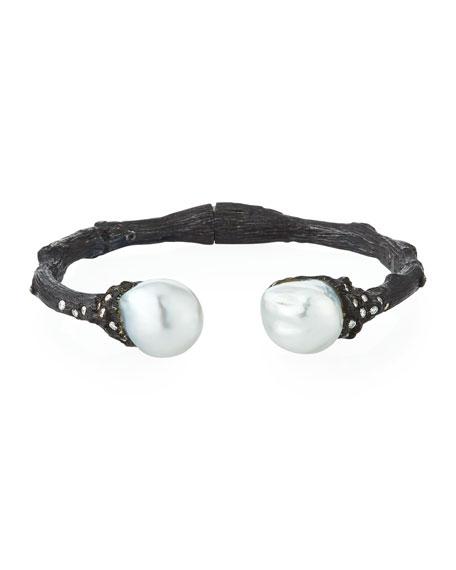 K Brunini Twig Diamond & Pearl Split Cuff