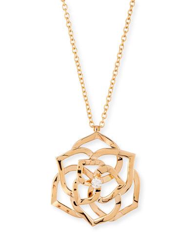 18k Ajouree Diamond Rose Pendant Necklace