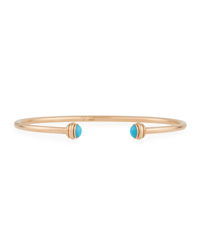 18k Rose Gold Possession Open Bangle with Turquoise