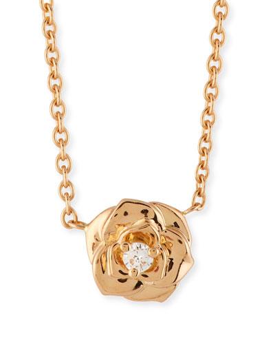18k Diamond Rose Pendant Necklace