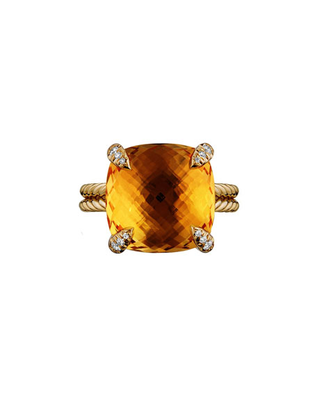 Châtelaine 18k Gold Citrine Ring w/ Diamonds, Size 7