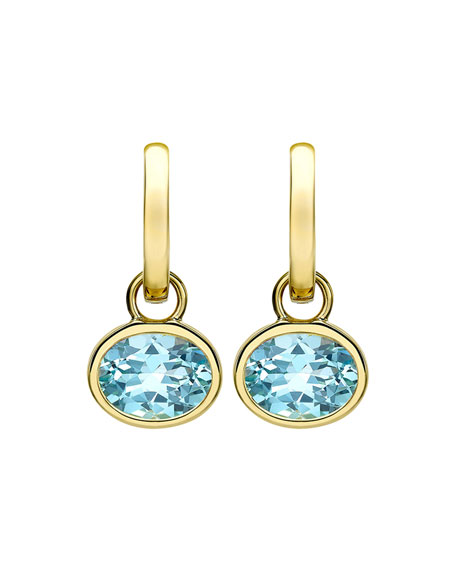 18k Gold Eternal Blue Topaz Drop Earrings
