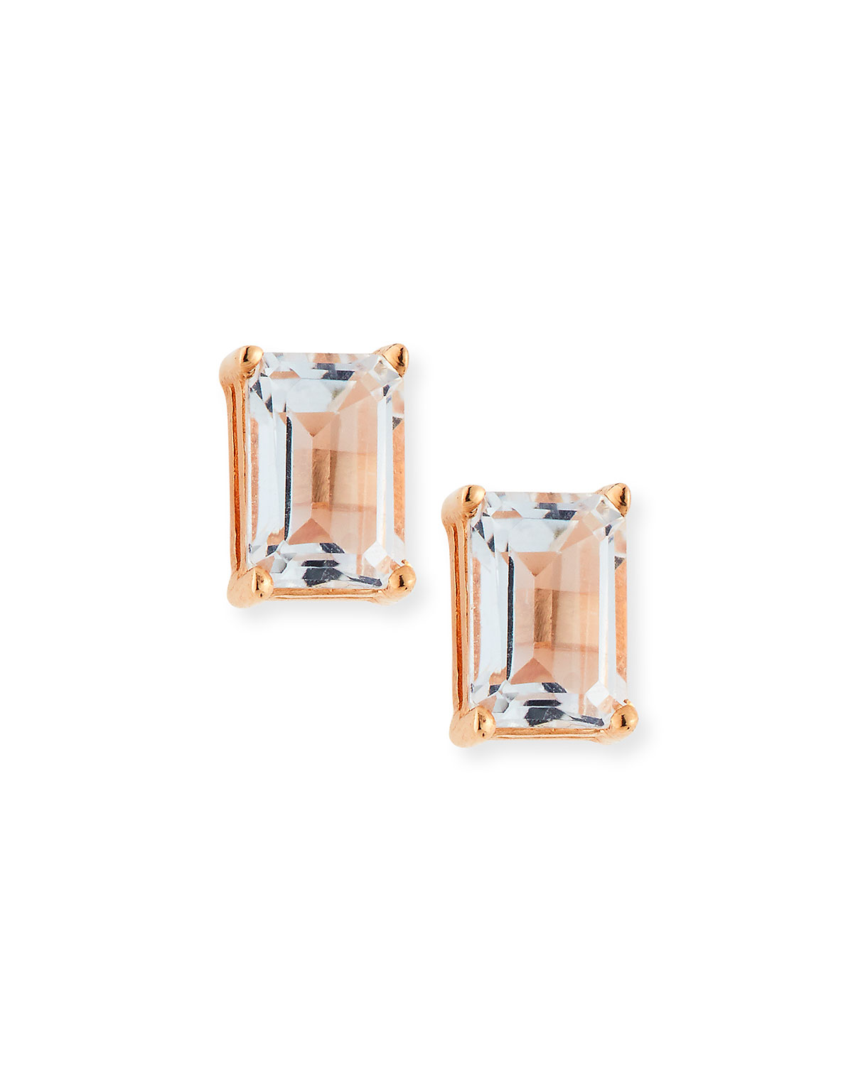 Suzanne Kalan 14k Emerald-Cut White Topaz Stud Earrings qnIHg