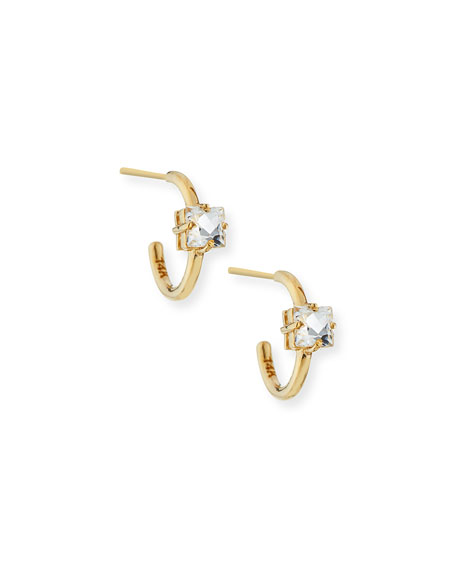 Suzanne Kalan 14k 12mm Hoop Earrings with White Topaz Clover