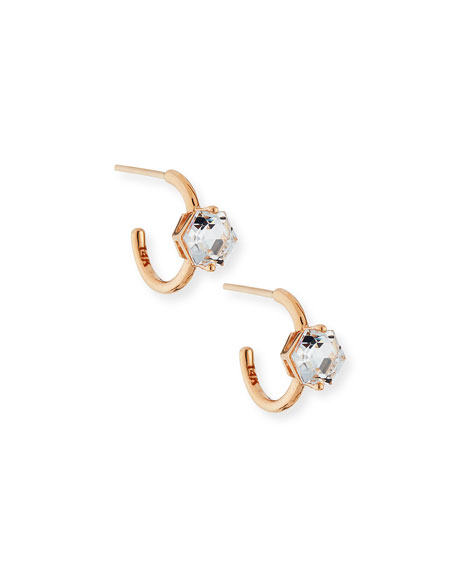 Suzanne Kalan 14k 12mm Hoop Earrings with White Topaz Hexagon SO0lX
