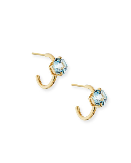 14k 12mm Hoop Earrings with Blue Topaz Hexagon