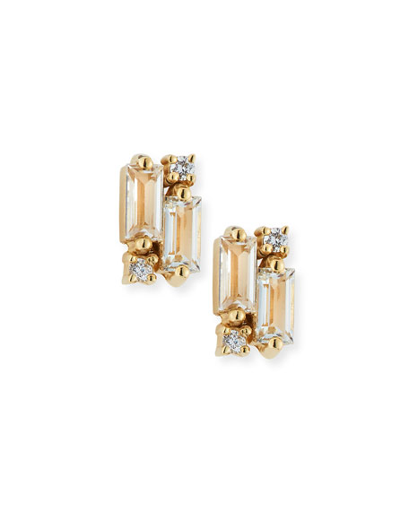 14k White Topaz & Diamond Baguette Mini Fireworks Stud Earrings
