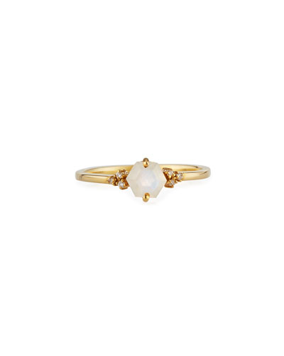 14K Yellow Gold Hexagon Ring in Rainbow Moonstone  Size 6.5