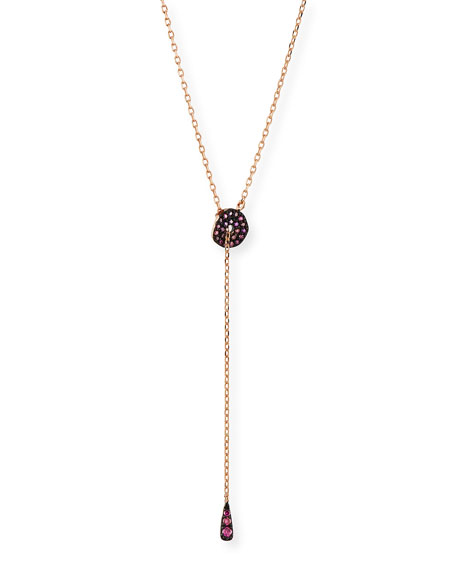 Image 1 of 2: Stevie Wren Adjustable Circlet Lariat Necklace in 14K Rose Gold with Pink Diamonds