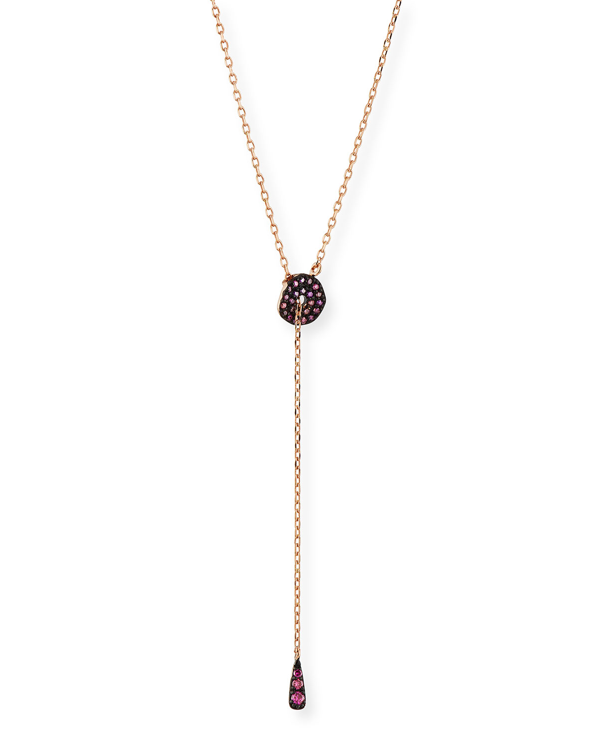 Stevie Wren Adjustable Circlet Lariat Necklace in 14K Rose Gold with Pink Diamonds