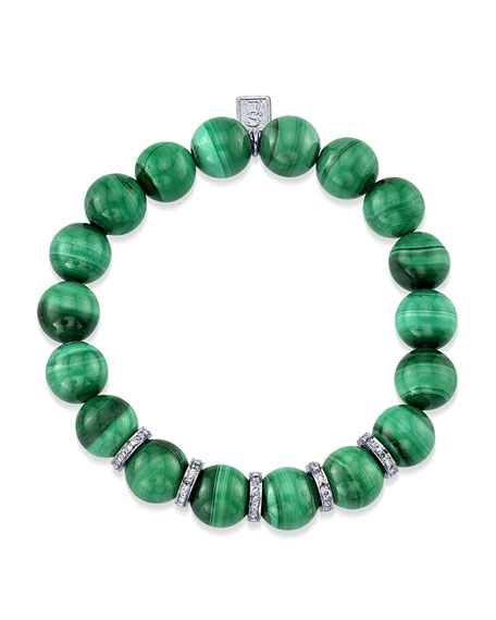 10mm Malachite & Diamond Bead Bracelet