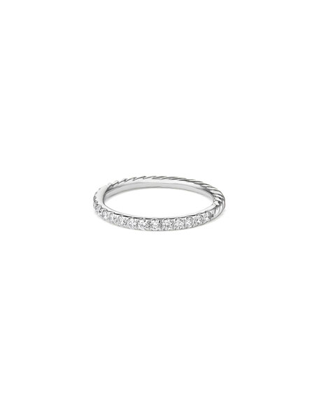 David Yurman Cable Collectibles Pavé Diamond Band Ring in 18K White Gold, Size 5