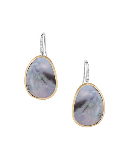 Marco Bicego Lunaria Drop Earrings with Black Mother-of-Pearl & Diamonds