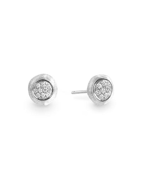 Marco Bicego Unico 18k Round Stud Earrings w/ Pave Diamonds
