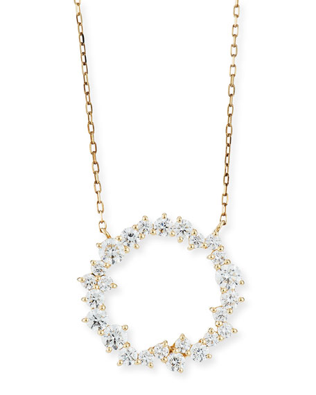 Sydney Evan Cocktail 14k Diamond Circle Pendant Necklace