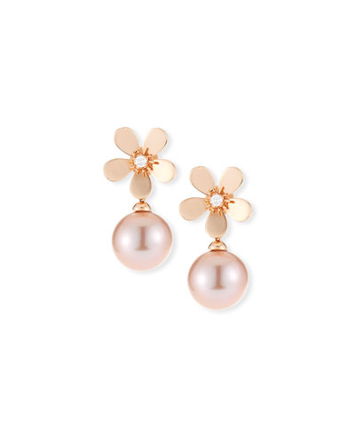 18k Diamond Daisy Pearl Drop Earrings  Rose Gold