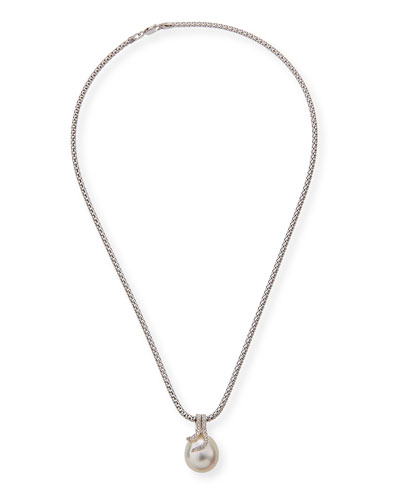 18k Diamond & Pearl Pendant Necklace