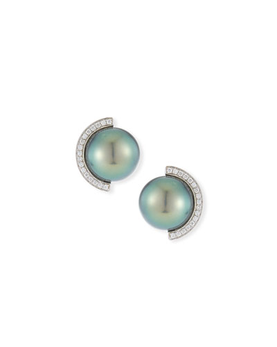 18k Diamond Half-Halo Pearl Stud Earrings