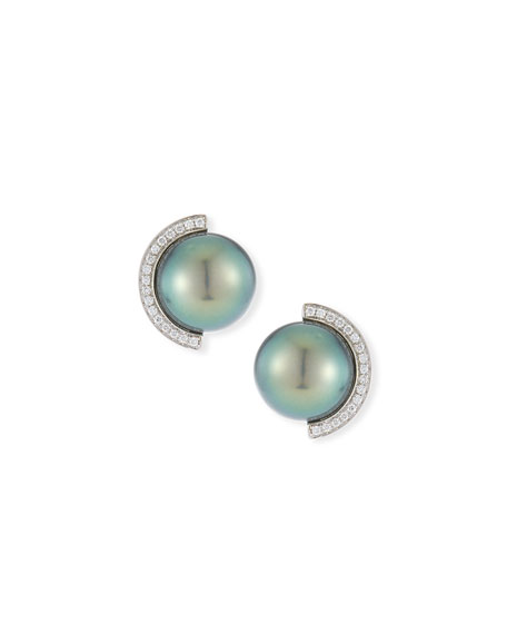 Belpearl 18k Diamond Half-Halo Pearl Stud Earrings