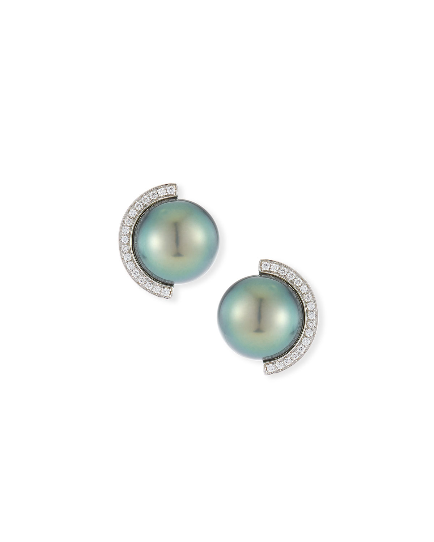 18k Diamond Half Halo Pearl Stud Earrings
