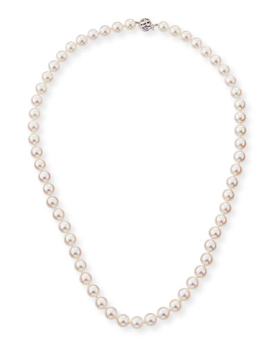 18k Single-Strand Akoya Pearl Necklace, 18