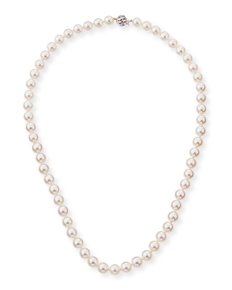 "18k Single-Strand Akoya Pearl Necklace, 18""L"