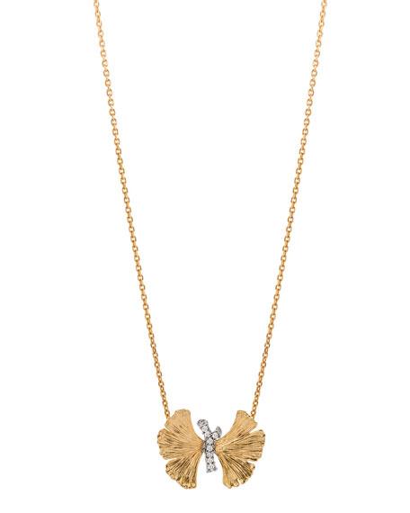 Michael Aram Butterfly Ginkgo Silver & Gold Pendant Necklace w/ Diamonds