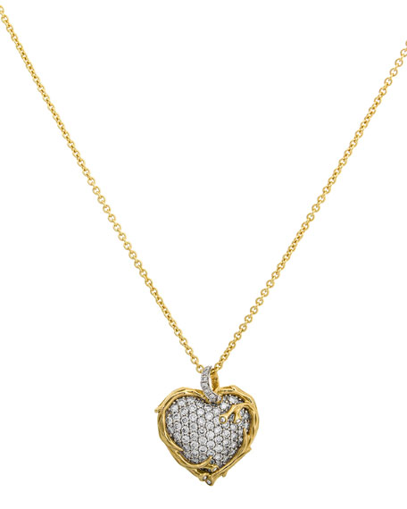 Michael Aram 18k Enchanted Forest Twig Heart Necklace w/ Diamonds