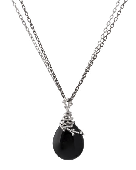 Michael Aram Enchanted Forest Wrap Necklace w/ Onyx & Diamonds