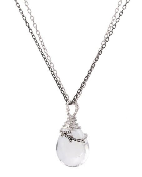 Michael Aram Enchanted Forest Wrap Necklace w/ Crystal & Diamonds