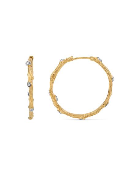 Michael Aram 18k Enchanted Forest Twig Hoop Earrings w/ Diamonds