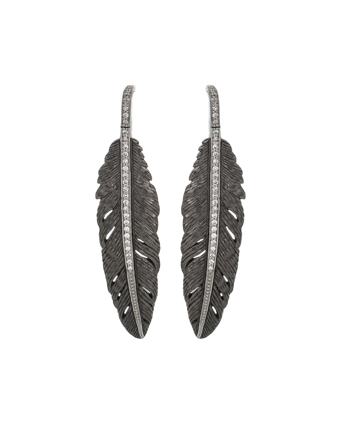 Michael Aram Feather Drop Earrings w/ Diamonds