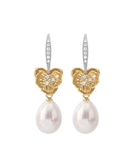 Michael Aram 18k Orchid Pearl & Diamond Drop Earrings