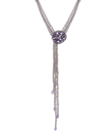 Michael Aram Botanical Leaf Pearl Lariat Necklace w/ Amethyst