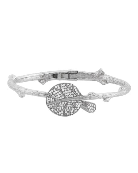 Michael Aram Botanical Leaf Bangle in Sterling Silver & Diamonds