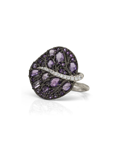 Michael Aram Botanical Leaf Amethyst & Diamond Ring