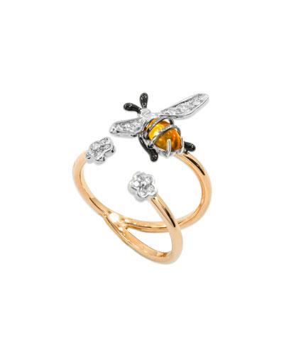 18k Rose Gold Nature Bumble Bee Ring