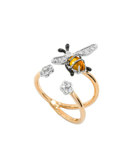Staurino 18k Rose Gold Nature Bumble Bee Ring, Size 7