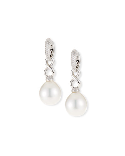 18k Twisted Diamond Pave South Sea Pearl Drop Earrings