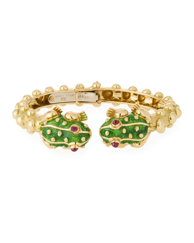 18k Gold Baby Frog Cuff Bracelet in Green Enamel